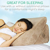 Xtra-Comfort Bed Wedge Pillow - Folding Memory Foam Incline Cushion System for Back and Legs - Triangle Shaped for Reading, Support - Washable