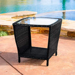 Great Deal Furniture Easton Outdoor Black Wicker Accent Table