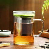 Tomotime 13.5 oz Borosilicate Glass Tea Cups Coffee Mug Cup (with glass lid) Green
