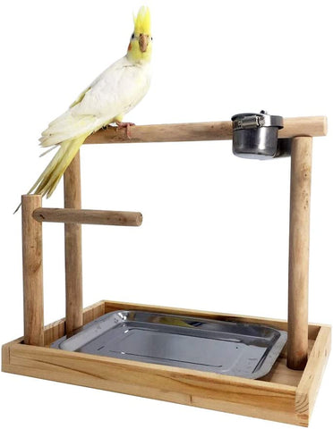 Borangs Parrot Playstand Bird Playground Wood Perch Gym Training Stand Playpen Bird Toys Exercise Playgym for Parakeet Conure Cockatiel Small Birds Cage