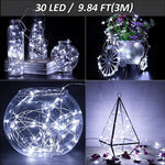 Ustellar 10ft 30 Micro Starry LED String Lights, Waterproof Fairy Silver Wire Lights, Moon Lights Battery Operated (Included), For DIY Wedding, Party, Table Decorations, Cool White, 8 Pack