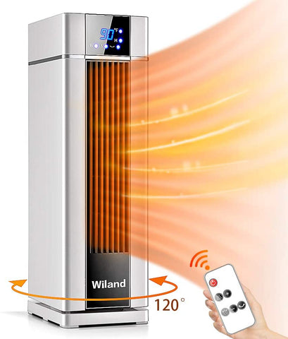 Space Heater With Remote Control,LCD Ceramic Tower Heater 120 °Oscillating 1500W Fast Heating Electric Heater With Thermostat 12H Programmable Timer 3 modes Air Conditioner