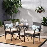 Great Deal Furniture Kevin Outdoor 3 Piece Wicker Bistro Set, Multi Brown with Cream Cushion