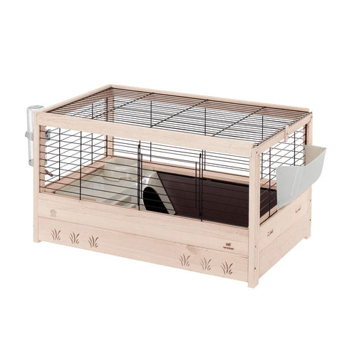 Ferplast Arena 80 Rabbit, Guinea Pigs and Small Animals Wooden Cage, Black, 82 x 52 x 45.5 cm