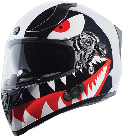 TORC T15B Bluetooth Integrated Full Face Motorcycle Helmet With Graphic (T15B Chrome Flying Tiger, Medium)