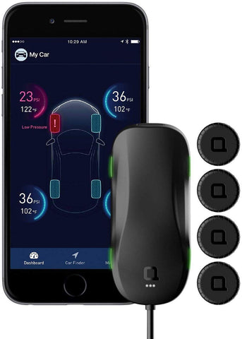 nonda ZUS AccurateTemp Smart Tire Safety Monitor, TPMS with APP, Slow Leak Detection, Real Time Pressure & Temperature Alerts, Tire Pressure Monitoring System with 4 Upgraded External Cap Sensors