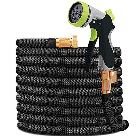 "HYRIXDIRECT 50ft Garden Hose Expandable Water Hose Lightweight with Metal 8 Function Spray Nozzle Double Latex Core 3/4"" Solid Brass Fittings Extra Strength Fabric Flexible Expanding Backyard Hose"