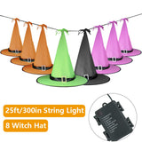 Opard Halloween Decorations Outdoor 8Pcs Hanging Glowing Lighted Witch Hat Decorations String Lights Battery Operated Halloween Décor for Outdoor Yard Tree