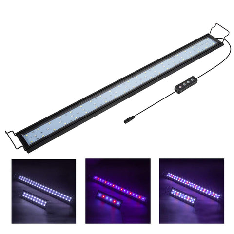 Hygger Full Spectrum Aquarium Light with Aluminum Alloy Shell Extendable Brackets, White Blue Red LEDs, External Controller, for Freshwater Fish Tank