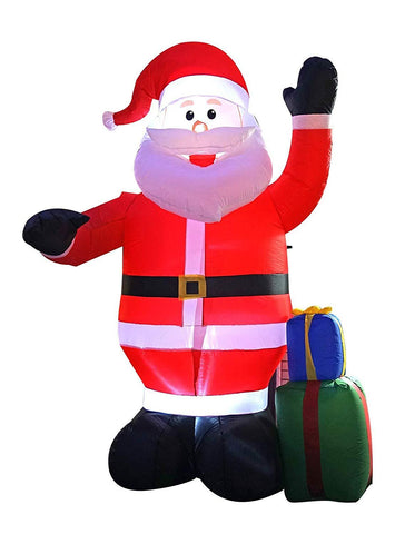 BIGJOYS 8 Ft Inflatable Portable Christmas Santa Claus Xmas Indoor Outdoor Lawn Yard Decoration Place Box Beside Foot