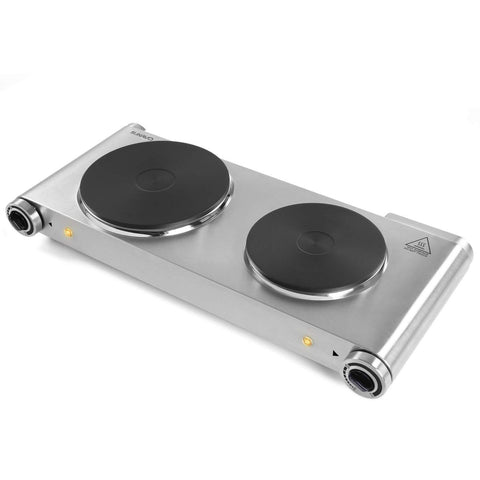 Hot Plate Double Burner for Cooking Electric 1800W, SUNAVO Portable Countertop Burners Cooktop Hotplate hob Burner Variable Temperature Controllers, Stainless Steel Silver by sunavo