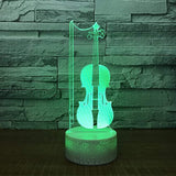 Violin Instrument Night Light 3D Visual Desk Lamp Violin Toy Household Home Room Decor 7 Colors Change Bedroom Touch Table Light Birthday Gift Christmas for Kids and Adult Violin Lover