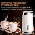 HadinEEon Milk Frother, Electric Milk Frother & Steamer for Making Latte, Cappuccino, Hot Chocolate, Automatic Cold Hot Milk Frother & Warmer (4.4 oz/10.1 oz), Coffee Frother Milk Heater (White)