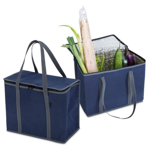 Reusable Grocery Insulated Shopping Bags - 2 Pack Extra Large Size, Collapsible & Foldable Heavy Duty Tote Bag with Durable Zipper and Handles