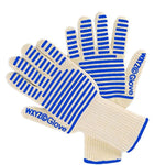 BBQ Oven Gloves Long Blue 1 Pair ,Heat Resistant Gloves with Food Grade Silicone Grips for Cooking,Baking,Potholder, EN407 Certified ,WXYZ