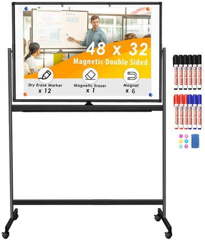 Maxtek Double Sided Rolling Whiteboard, 48 x 32 inches Large Mobile Whiteboard Magnetic Movable White Board Dry Erase Stand Whiteboard on Wheels Classroom Home Office Marker Board