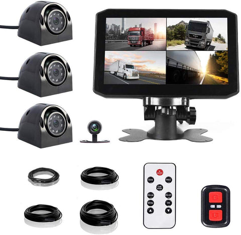 "VSYSTO Vehicle Backup Camera X7 Pro 4CH Truck Dash Cam 7"" Monitor Super Infrared Night Vision Waterproof Truck Surveillance DVR Kits for Truck/RV/Trailer/Bus/Vans/Camper.10/20/20/49ft Extension Cable"