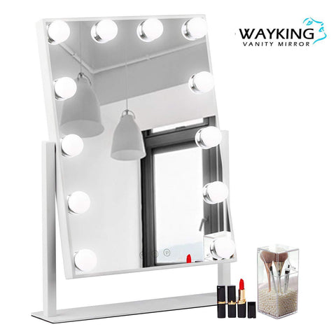 WAYKING Makeup Mirror with Lights, Lighted Vanity Mirror with 12 LED Bulbs and Touch Dimmer, Rotary Tabletop Cosmetic Mirror, 3 Color Modes, White