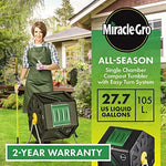 Miracle-Gro Single Chamber Outdoor Garden Compost Bin – Large Volume, Compact Design 27.7gal (105L) Capacity – Heavy Duty, Easy to Assemble Tumbling Composter + Free Scotts Gardening Gloves
