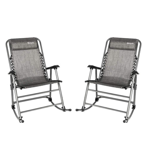Bonnlo Set of 2 Zero Gravity Rocking Chair Patio Lawn Chair, Beach Reclining Folding Chairs, Outdoor Portable Recliner for Camping Fishing Beach (Grey-2pcs)