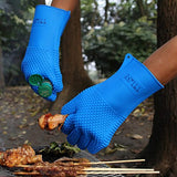 "TTLIFE XL 13.5"" Long Silicone Heat Resistant BBQ Grill Oven Gloves for Cooking, Baking, Smoking & Potholder - 1 Pair - FDA Approved (Blue) - For Extra Forearm Protection"