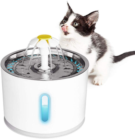 AwesomeWare Cat Water Fountain Stainless Steel, Automatic Dog Water Dispenser 81oz/2.4L Pet Fountain with 3 Replacement Filters, Water Level Window with LED Light