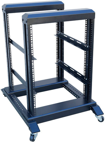 "22U 4 Post Open Frame 19'' Server/Audio Networking Data Steel Rack Deep 24"" with one Fixed Shelf"