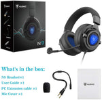 NUBWO N9PRO Gaming Headset, for PS4, Xbox One, Nintendo Switch, Mac, PC, Computer, LED Light, with Detachable Microphone, with Surround Sound Quality 3.5mm Volume Control, Black