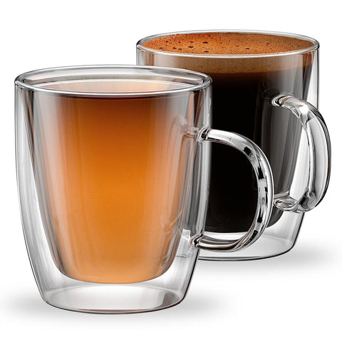 Stone & Mill 2 Glass Coffee Cups 12 oz, Insulated Double Wall Coffee Mugs AM-12 by Stone & Mill Homewares