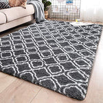 PAGISOFE Soft Indoor Large Modern Area Rugs Shaggy Patterned Fluffy Carpets Suitable for Living Room and Bedroom Nursery Rugs Home Decor Rugs for Christmas and Thanksgiving 5'x8' Grey Trellis