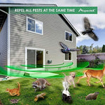 Aspectek Upgraded Powerful Yard Sentinel, Outdoor Electronic Pest Animal Ultrasonic Repeller, with Ac Adaptor, Extension Cord For Rat, Mouse, Deer Raccoon Rabbits Birds