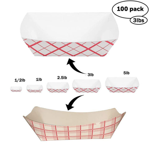 Disposable Paper Food Tray 3Lb Heavy Duty, Grease Resistant 100 Pack. Durable, Coated Paper Food Basket for Fairs, Concession Stands & Food Trucks. Holds Treats Like Hot Dogs, Fries, Nachos and Tacos!
