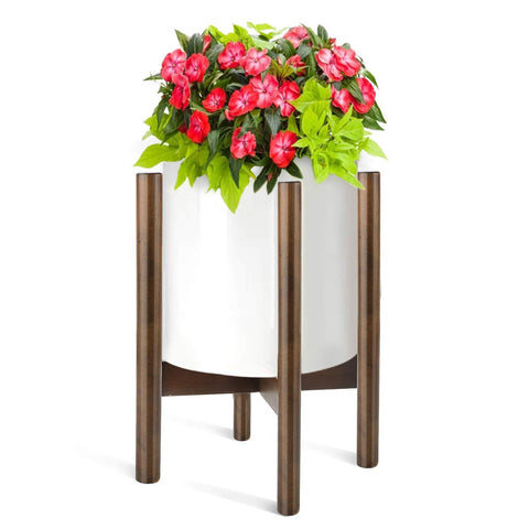 "Plant Stand for Indoor & Outdoor, Fixget Detachable Wood Flower Pot Holder Planter Pot Stand Modern Home Decor Sturdy Plants Display Rack Pot Trivet Planter for House Garden Patio 10""x 14"""
