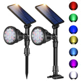 Outdoor Solar Spot Lights, DS Lighting Super Bright 18 LED Security Lamps Waterproof Spotlight for Garden Landscape Path Walkway Deck Garage (7 Colors, 2 Pack)