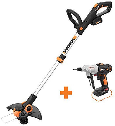 "Worx WG163.8 GT 3.0 20V PowerShare 12"""" Cordless String Trimmer & Edger, 12in, 1 Battery and Quick Charger Included"