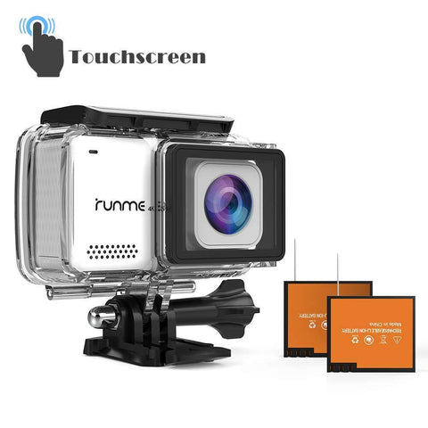 "RUNME R3 2.45"" Touchscreen 4K 16MP Wi-Fi Action Camera, Sony Image Sensor, 30M Water Resistant Camcorder with 170° Wide-Angle Lens, Sports Cam with Accessories Kit & 2 Rechargeable Batteries(Grey)"