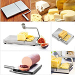 Bekith Cheese Slicer Stainless Steel Wire Cutter With Serving Board - Cheese Cutter for Hard and Semi Hard Cheese Butter