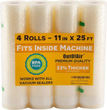 "11"" x 25' Rolls (Fits Inside Machine) BULK 8 Pack (200 feet total) OutOfAir Vacuum Sealer Rolls for Foodsaver and others 33% Thicker, BPA Free, FDA Approved, Sous Vide, Commercial Grade Bags"