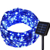 150LED 55ft 16m 8modes Solar String lights - Dolucky Solar Fairy Lights Blue Waterproof Copper Wire Lights Outdoor Lighting for Garden, Wedding, Homes, Party, Halloween, Chrsitmas Decoration