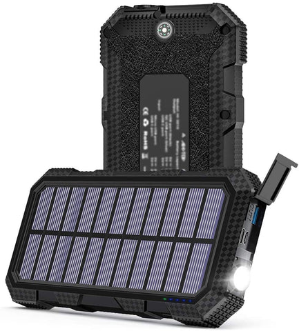 Solar Charger 26800mAh, ADDTOP 18W QC 3.0 Solar Power Bank USB-C Portable External Battery Charger for Smartphones and Laptops IPX5 Waterproof with Flashlight & Compass