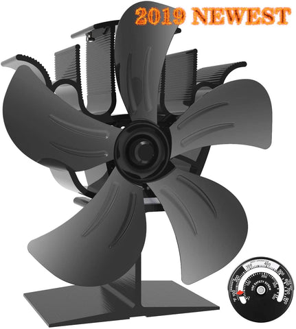 KINDEN Wood Burner Fan 5-Blade Heat Powered Stove Fan for Wood Log Ultra Quiet Increases 80% More Warm Air Than 2 Blade Eco-Friendly with Stove Thermometer
