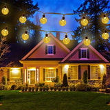 Icicle Solar String Lights 20FT 30 LED Crystal Globe Lights with 8 Modes, Solar Powered Waterproof Fairy Lights for Outdoor Garden Patio Backyard Xmas Holiday Party Decor, Warm White