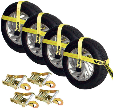 VULCAN High-Viz Adjustable Loop Auto Tie Downs with Snap Hook - 3300 lbs. Safe Working Load, 4 Pack - Easily Trailer Any Car, Truck, SUV, Jeep, Or Sportscar