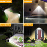 ROSHWEY Outdoor Solar Spotlights, Super Bright 18 LED Security Light Waterproof Wall Lamps for Garden Landscape Patio Porch Deck Garage (Cool White, 2 Pack)
