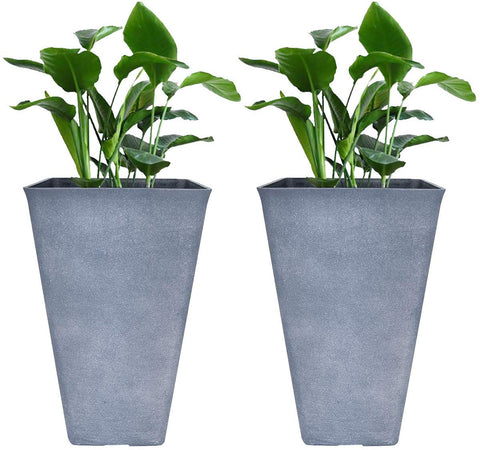 Tall Planters 26 Inch Large Flower Pots Pack 2, Indoor and Outdoor Patio Deck by La Jolíe Muse