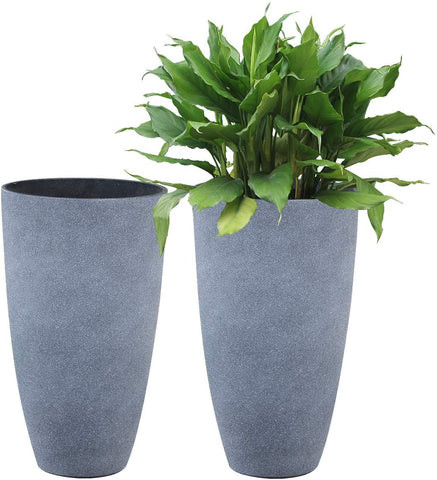 Tall Planters Set 2 Flower Pots, 20 Inch Each, Patio Deck Indoor Outdoor Garden Planters,Weathered Gray by La Jolíe Muse