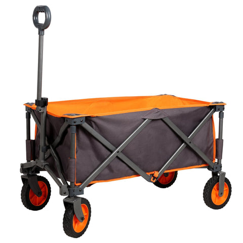 PORTAL Collapsible Folding Utility Wagon Quad Compact Outdoor Garden Camping Cart Support up to 225 lbs, Regular, Grey