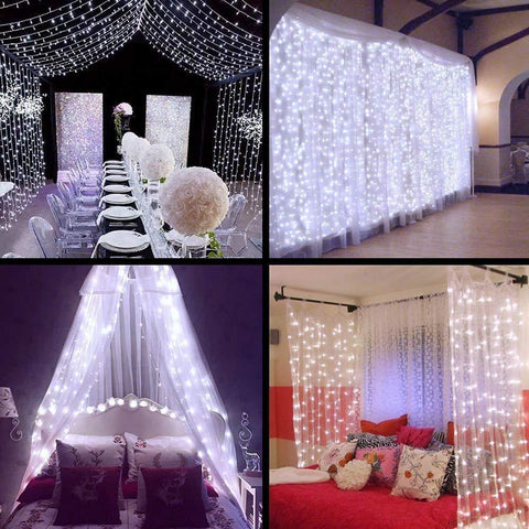 Neretva Window Curtain Icicle Lights, 304 LEDs String Fairy Lights, 9.8x9.8ft, 8 Modes Linkable , Daylight White , Christmas/Wedding/Party Backdrops Decorative Lights