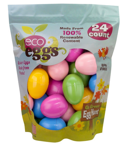 ecoegg Eco Friendly 100% Renewable USA Plant Based Non-Toxic Snap Closure Plastic Fillable Easter Eggs for Egg Hunts & Easter Baskets - Multicolor, 24 Count
