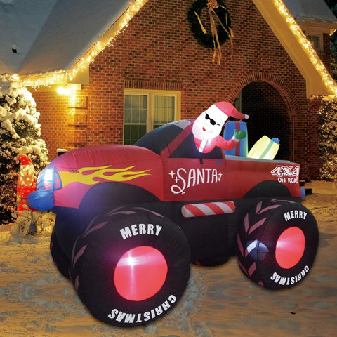 GOOSH 7 Foot Christmas Self Inflatable Trucks with Santa Clause Blow up Yard Car Santa Clause Truck